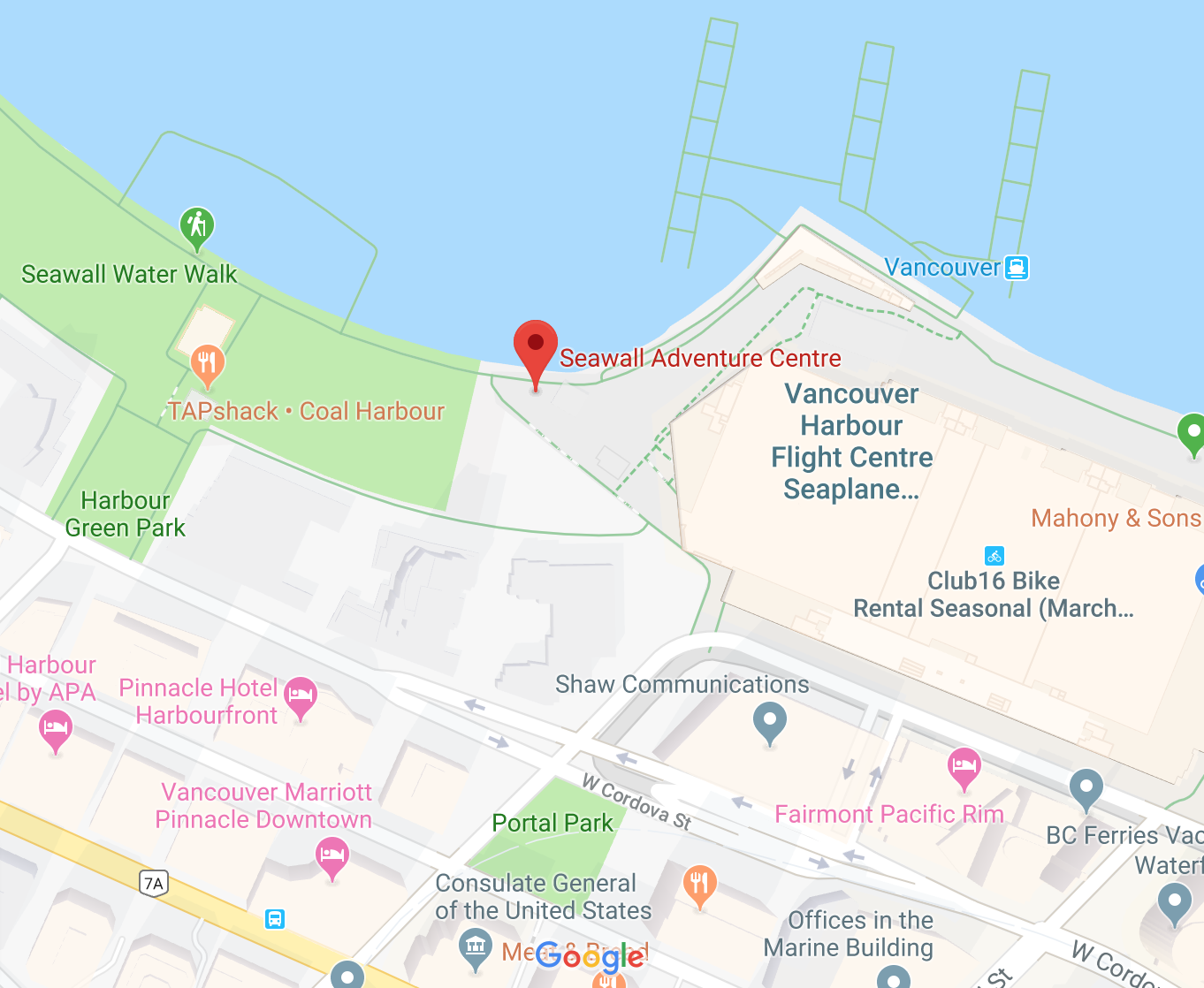 Seawall Adventure Centre Vancouver location