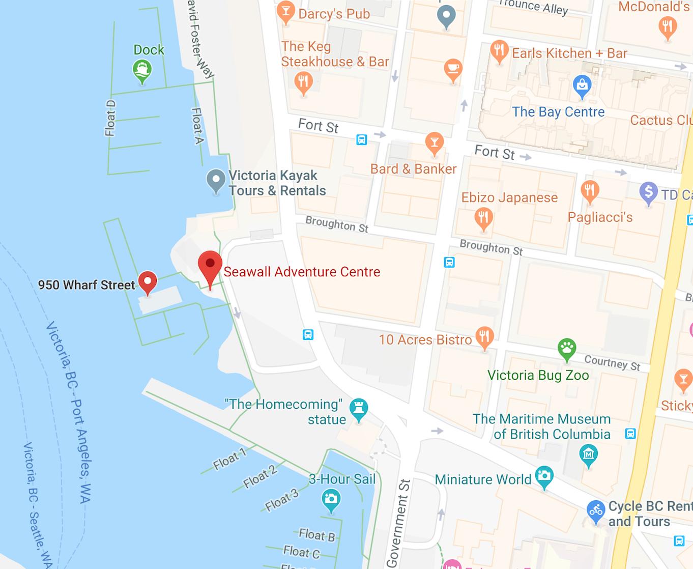 Seawall Adventure Centre Victoria location